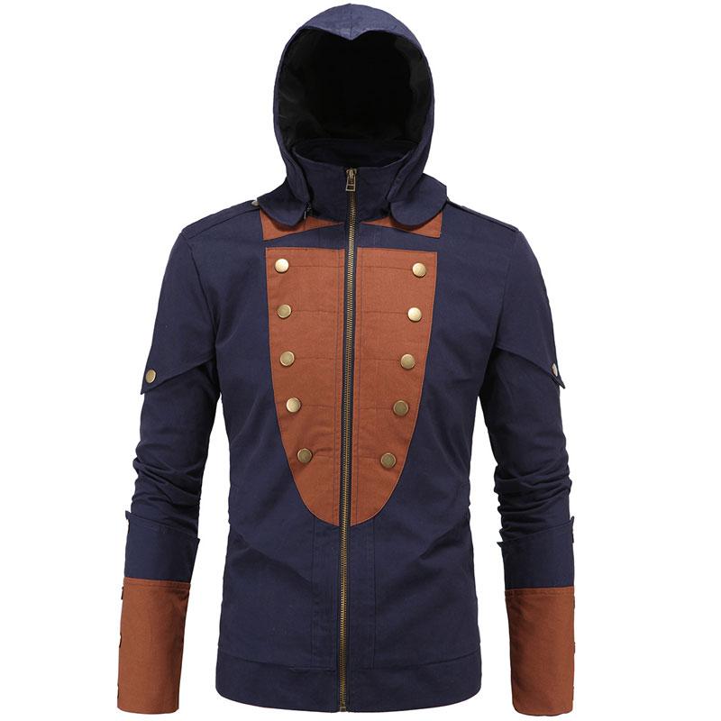 Anorak Jacket Men Patchwork Hooded Coat New Men's Fashion Cosplay Jacket Outwear Men Game Clothes jacket Zipper Coat Outwear 5XL(China (Mainland))
