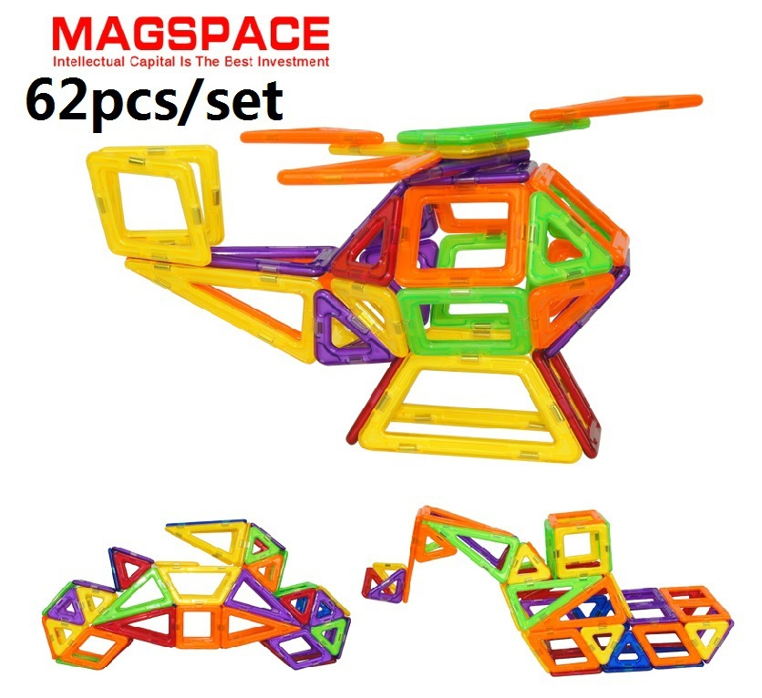 62PCS MAGSPACE Magnetic construction set building Kit DIY forge world jigsaw puzzles doll house baby toy, Magformers(China (Mainland))