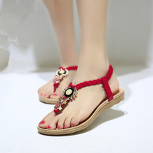 2015 Flat Sandals For Women Ankle-Strap Casual Summer Shoes Women Sandals 2015 Flip Flop Jelly Beading Sandale Femme White(China (Mainland))