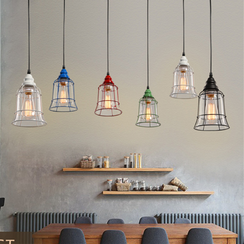 Retro Industrial Bar Simple Iron Pendant Light Creative Colorful Painted Dining Room Pendant Light