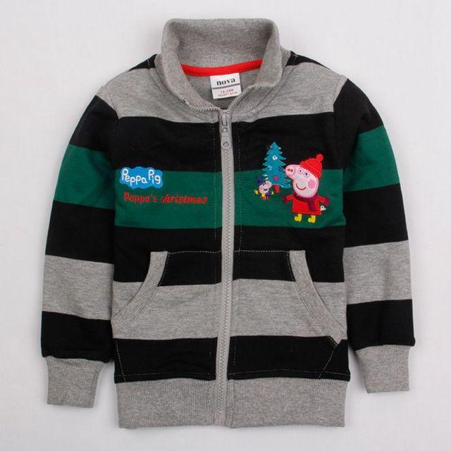 Мальчики зима мультфильм свинья вышивка зимняя куртка мальчики толстовки куртки пальто молния вверх жакет толстовки для мальчиков одежды A4358