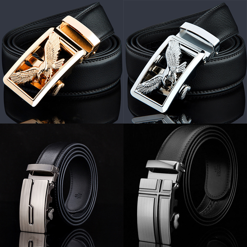 2016 New designer belts men automatic buckle genuine leather belt for men luxury eagle belts cowskin strap high quality ceinture(China (Mainland))