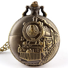Bronze Train Front Locomotive Engine Necklace Pendant Quartz Pocket Watch P107