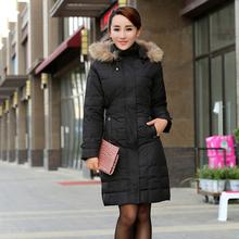 2016 fashion raccoon fur thickening medium long slim thin winter women high quality duck down coat parkas snow wear jacket