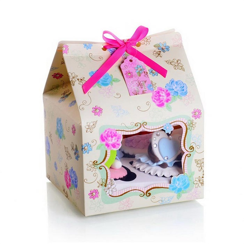12x Cake Box House Design Pack of 4 Cupcake Boxes Card Gift Box Wedding Party Favors 15x15x20cm(China (Mainland))