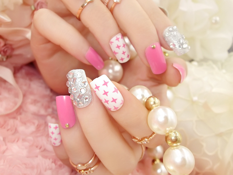2Full Nail Tips Acrylic Mixed color Fake pink silver shining dot rhinestone false nails square head nail - the best service,the last price,Direct Manufacturer store