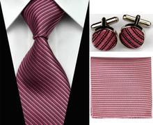 SNT0100 2014 New Men s 100 Jacquard Woven Silk Solid Neckties Tie handkerchief Cufflinks Sets for
