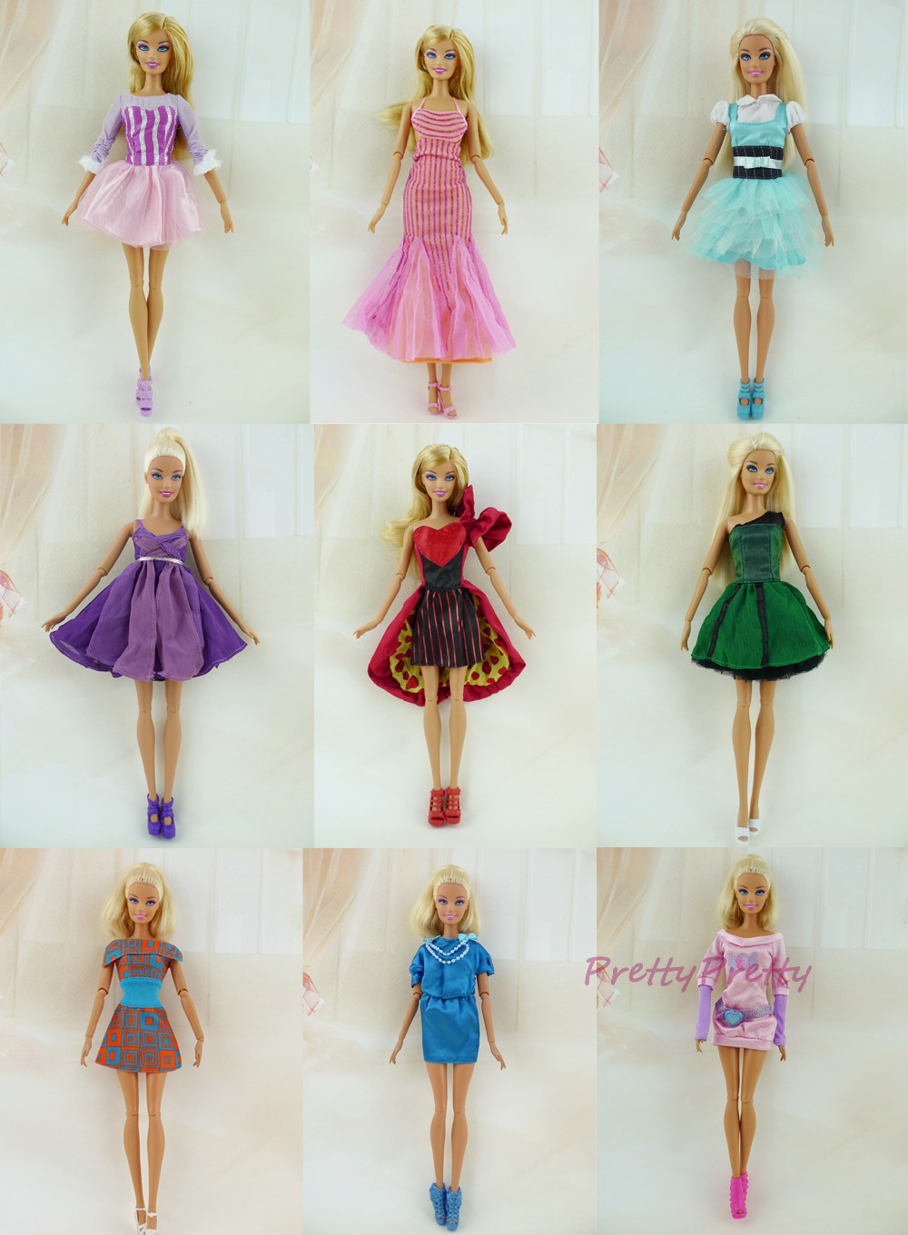 Free Delivery Randomly Decide 5 PCS Authentic Doll Costume Princess Robe Fashion Skirt  For Barbie Doll Finest Woman Reward  Child Toy
