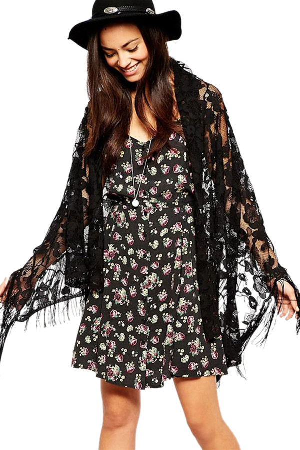 2015 New Summer Style Beach Cover Ups for Women Lace Tassel Black Color Ladies Long Wraps Free Shipping LC41315(China (Mainland))