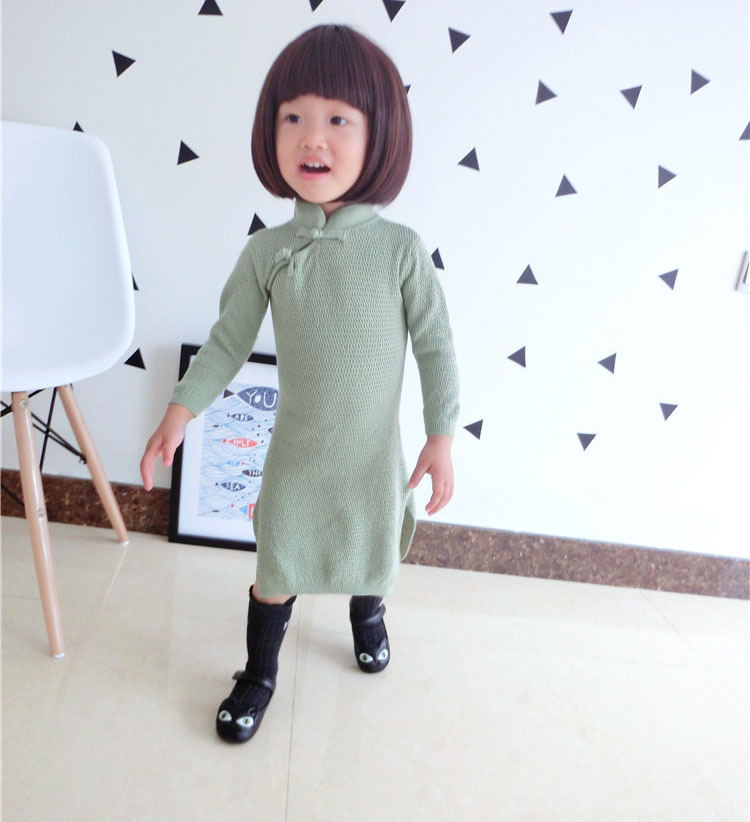 2015 autumn new girl dress Chinese style Classic knitted cheong-sam baby girl dress high quality 5 - 1 year birthday dress(China (Mainland))