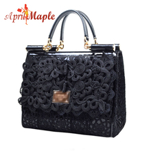 Hot sale women genuine leather handbags messenger bag race line bag by famous designers with cell phone holder & many pockets