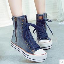 Women 2015 Spring High Top Lace Up Cowboy Canvas Shoes Denim Oblique Zipper Women's Casual Shoes(China (Mainland))