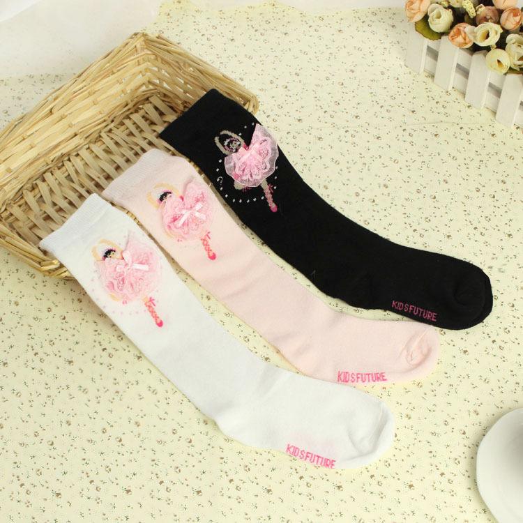 wholesale 2015 Korean style New spring autumn girls ballerina dacing socks kids cotton tube socks toddler toe socks pink white(China (Mainland))