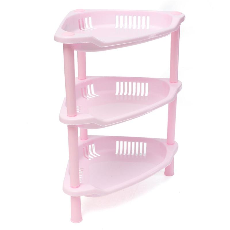 Beautiful Design 3 Tier Plastic Corner Shelf Unit Organizer Cabinet Bathroom Playroom Garage Kitchen Storage Rack(China (Mainland))