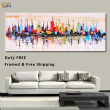 Framed Ready to Hang Duty Free Shiping New York City Picture Decor Hand Painted Modern Abstract Oil Painting on Canvas Wall Art(China (Mainland))