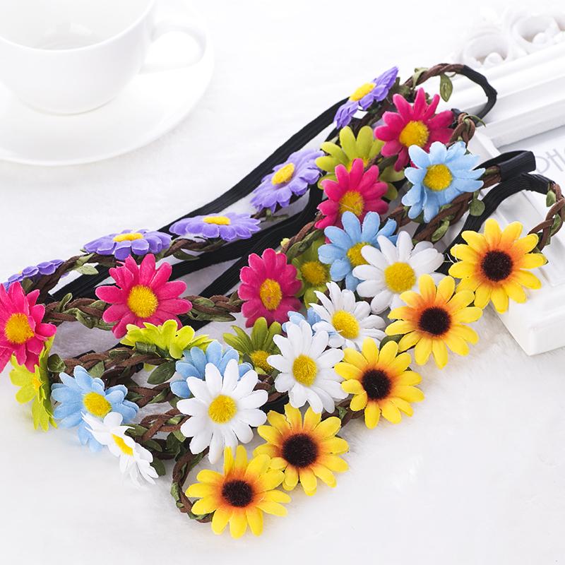 Free Shipping Boho Daisy Hairband Headband Wedding Festival Elastic Flower Floral Hair Garland(China (Mainland))