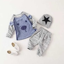 Retail 2016 New baby boy clothes next* clothing 3 pcs The cartoon dog warm long sleeves trousers baby boy set