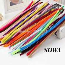 200PCS Multicolor Mixed Plush Iron Wire Flexible Flocking Craft Sticks Pipe Cleaner Creativity Developing Kids DIY Toys(China (Mainland))