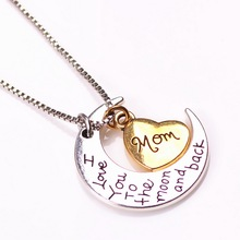 2015 New moon and heart necklaces DIY necklace pendants love style zinc alloy pendants jewlery Wholese