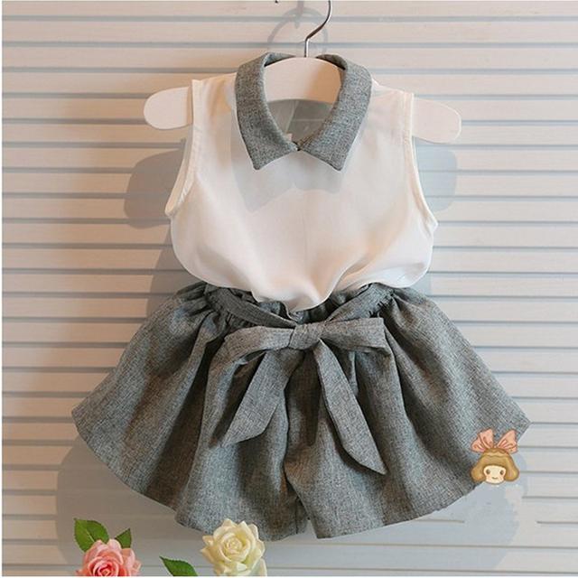 2016 новые малыши летней одежды девочек одежда устанавливает детский шифон белая ...