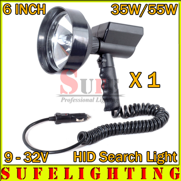 SUPER NEW 1Pcs  6  35w 12V Xenon HID Search light H3 Handheld Hunting Fishing Spot light Search Light Boat Camping Spot Lamp