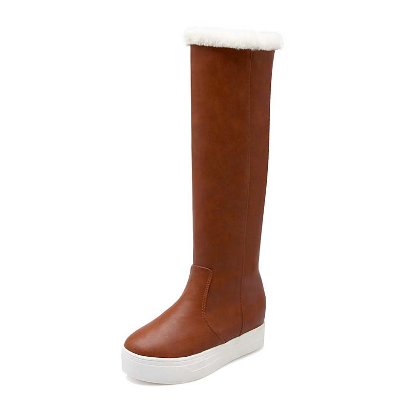 Big Size 34-40 Advanced PU Leather Boots Round Toe Height Increasing Long Boots For Women 3 Colors New Fashion Boots<br><br>Aliexpress