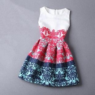 New 2015 Women Casual Floral Print European Style Vest Vintage Gril Slim Dresses Female Clothing Vestidos Desigual Dress QA380(China (Mainland))