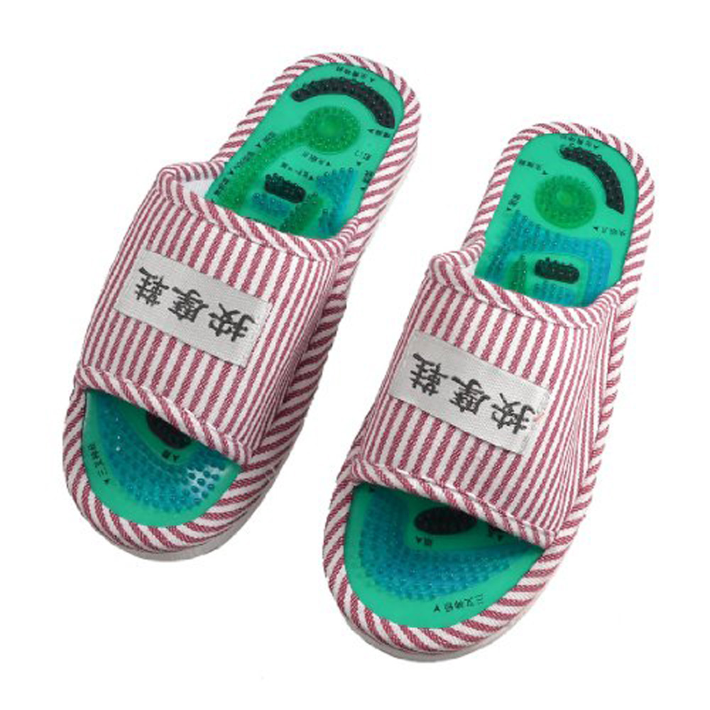New Hotsale Promotion Pair Striped Health Care Foot Acupoint Massage Flat Slippers for Lady