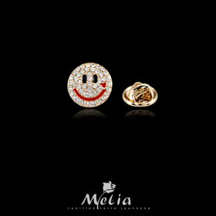 Melia fashion accessories smiley small collar pin buckle suit collar flower button put the needle brooch corsage(China (Mainland))
