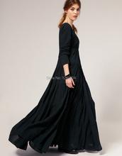 2014 fashion long-sleeve full dress elegant V-neck full dress lady fashion long dresses ankle length floor length dresses(China (Mainland))