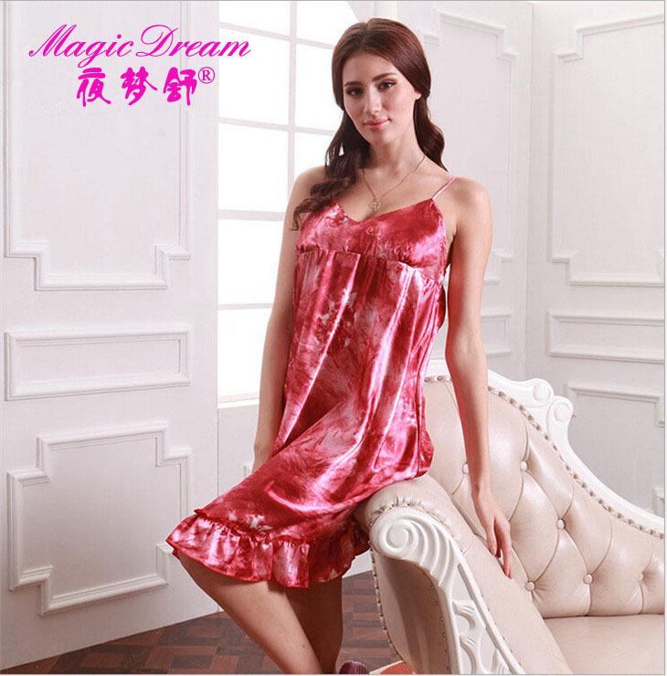 Free Shipping Women's Dresses Sexy Essentials Satin 3 Colors Sleep Dress Night Skirt Silk Nightwear Women Sleepwear Home Clothes(China (Mainland))