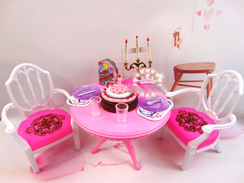 Dining table Set Toys 1: 6 dolls Universal for barbie doll Children girl gift Free shipping<br><br>Aliexpress