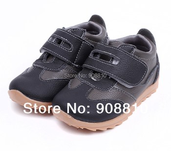 New !!children sneakers 100% leather black grey sport shoes baby items retail wholesale free shipping