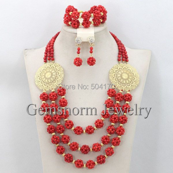 African Bridal Coral Beads Necklace Set  2014 Fashion Jewelry Beads Costume Jewelry Set New Free Shipping CNR248<br><br>Aliexpress