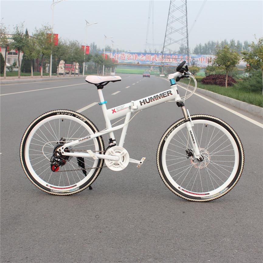 26 mountain bike carbon steel folding mountain bike 21 24 derailleur automobile race double disc shock absorption car(China (Mainland))