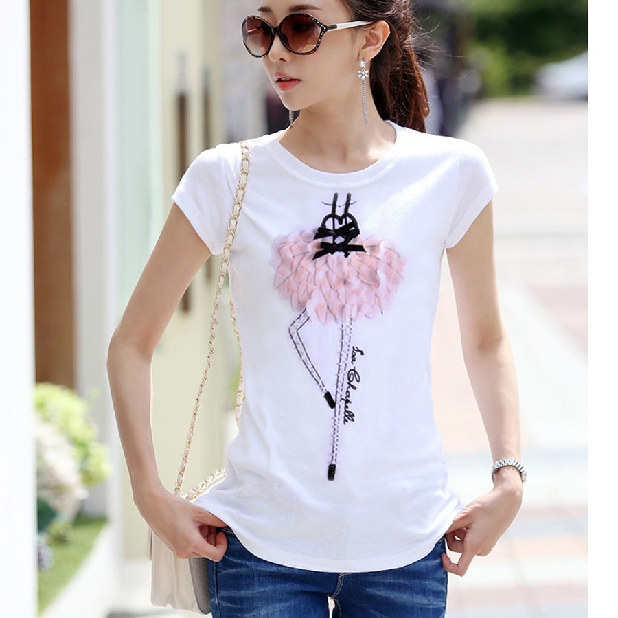 New 2015 summer t shirt women tops short sleeve casual t-shirt o-neck tees cute cartoon tshirt appliques plus size camisetas(China (Mainland))