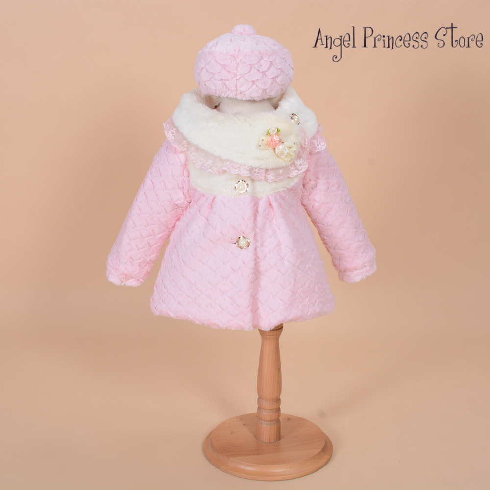 T10 New Arrival 2015 Girls Jackets and Coats Winter Faux Fur Long Sleeves Kids Fashion Flower Girl Bolero Coat with hat 3-6Years