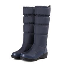 Frauen Winter Schnee Stiefel PU leder lange winter plattform flache stiefel frau über knie Stiefel 2019 für frauen dicke stiefel(China)