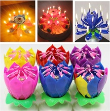 Musical Lotus Flower Flame Happy Birthday Cake Party Gift Lights Rotation Decoration 14 Candles Lamp Surprise(China (Mainland))