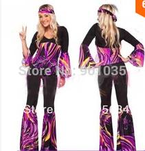 FRETE GRÁTIS Senhoras 60 s 70 s Retro Hippie Go Go Girl Traje Discoteca Galinhas Partido Fancy Dress