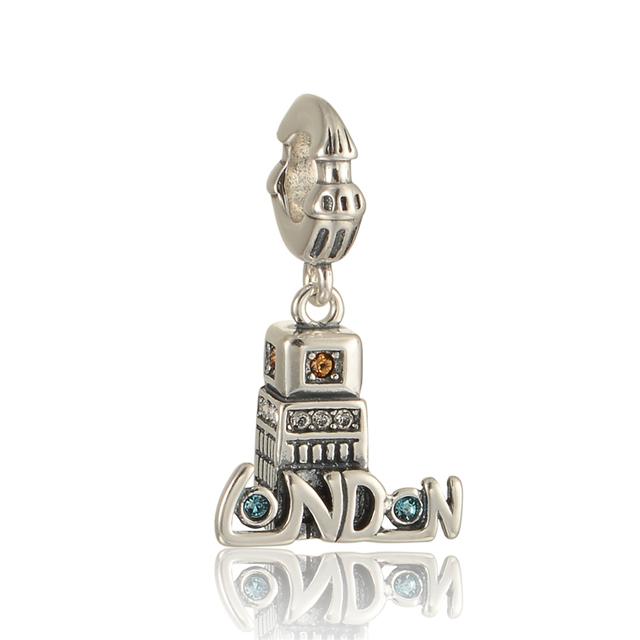 100% 925 - серебристо-ювелирные бусины лондон башня с кристально бусины Fit Chamilia пандора браслеты серебро 925 DIY