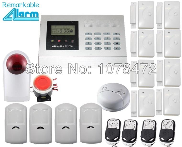 Hot sale security alarm system kit outdoor strobe siren,smoke sensor,4PIR detector,8 door sensor GSM 850/900/1800/1900MHz  alarm<br><br>Aliexpress
