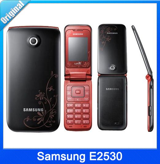 Refurbished Original Samsung E2530 Flip Mobile Phone Bluetooth GPRS support TF Card Free Shipping(China (Mainland))