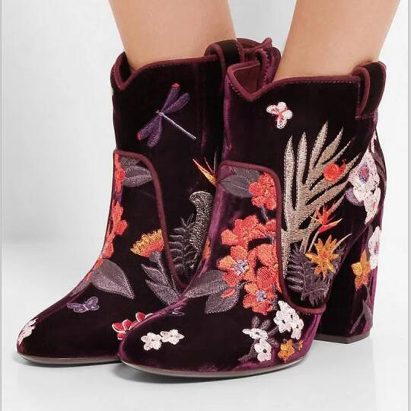 2016 Charming Winter Flower & Animals Embroidered Suede Ankle Boots Floral Appliqued Butterflies Women Fashion Booties Shoes(China (Mainland))
