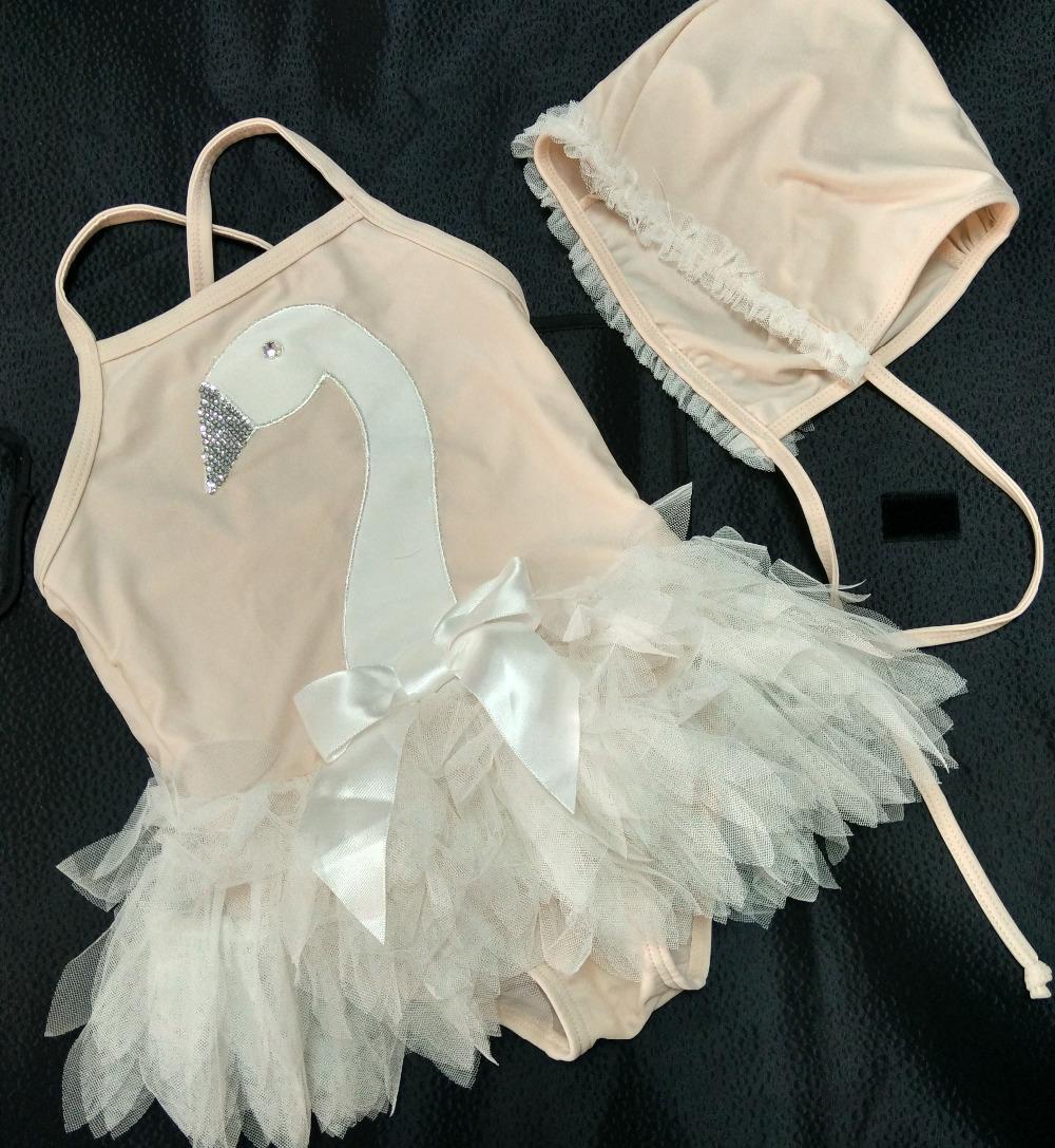 girls swimwear 2015 summer girls bathing suits sleeveless swan with lace girls  bikini pink princess swimsuit good qualiity<br><br>Aliexpress