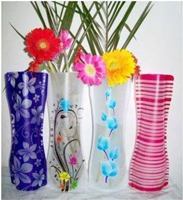 foldable plastic flower vase Convenient water bag noelty plastic vase home decor 2013 new hotsale wholsale Free shipping(China (Mainland))