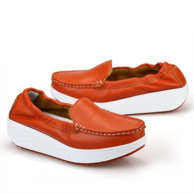 Новые 2015 документальных обувь кожа дышащий склон туфли на платформе для женской ...