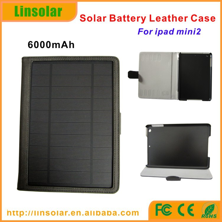 Best selling pu leather flip cover 6600mAh green power solar power case / solar battery charging case for ipad mini 2 3(China (Mainland))