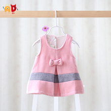 AD 4-24M Elegant Bow Baby Girls Dress Spring Autumn Winter Baby's Dress Kids Children Clothing Clothes Woolen Two Layers Warm (China (Mainland))