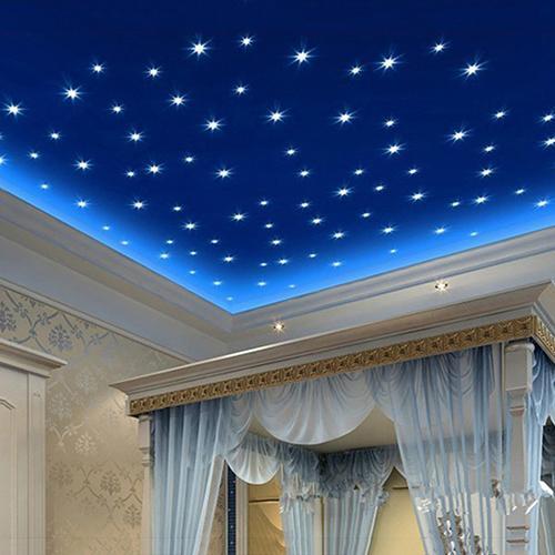 100st 3D Étoiles Lumineux la Nuit Fluorescent Sticker Mural Muraux Chambre 2020